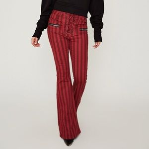 AFRM lace up bell flare red jeans BRAND NEW
